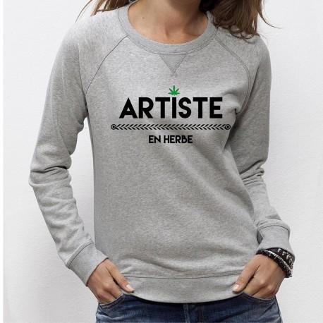 Artiste en herbe model femme feuile cannnabis